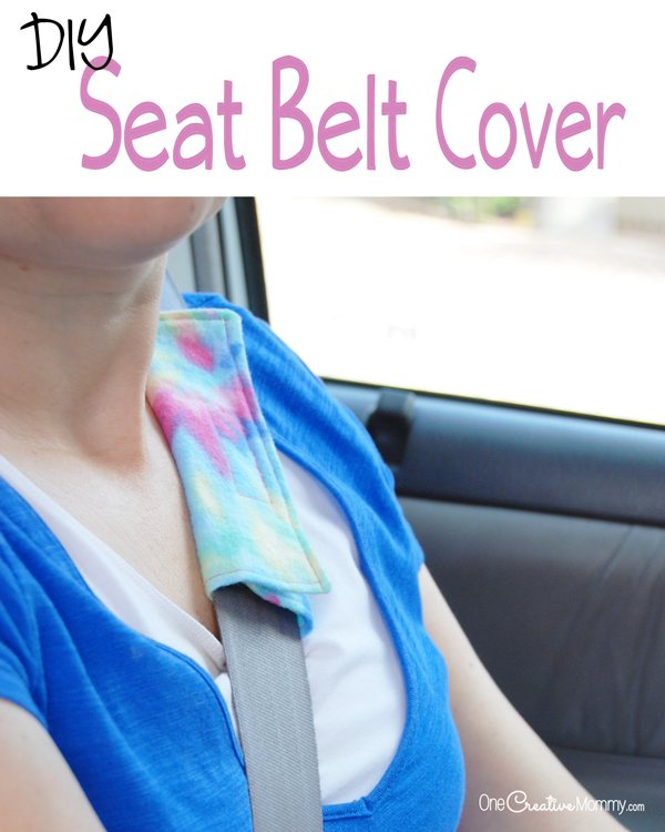 This seat belt hack will save your neck! Keep the seat belt from rubbing your bare skin with these clever DIY Seat Belt Covers! {OneCreativeMommy.com}