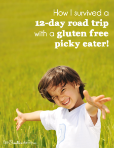 Gluten Free Guide - I survived a 12-day road trip with a gluten free picky eater and lived to tell about it! I actually fed three picky eaters for 12 days, and we all had a great time. Visit the post to learn my tips. {OneCreativeMommy.com}