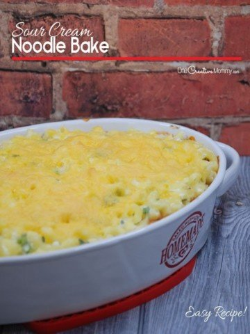 Delicious Sour Cream Noodle Bake Recipe -- Easily Gluten Free! {OneCreativeMommy.com}
