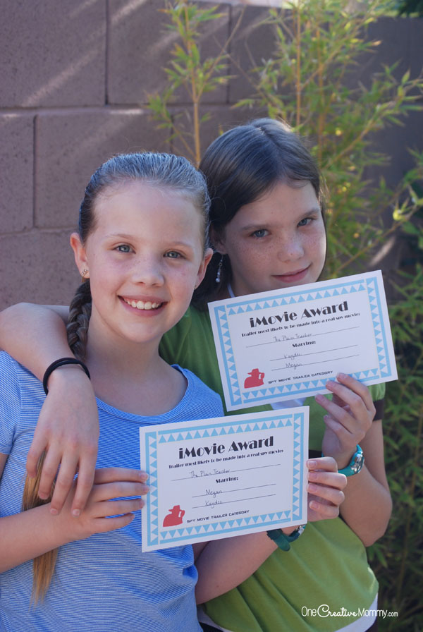 These awards go perfectly with the Mad Libs iMovie party game! 6 awards to choose from. The free printables come with the game. {OneCreativeMommy.com}