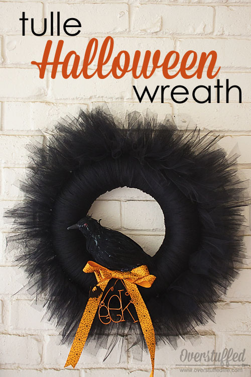 Crow Tulle Halloween Wreath from Overstuffed | Featured in 19 Easy Halloween Wreaths you can actually make {OneCreativeMommy.com}