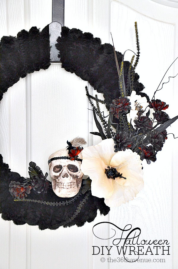 Halloween Wreath Tutorial from the 36th Avenue | Featured in 19 Easy Halloween Wreaths you can actually make {OneCreativeMommy.com}