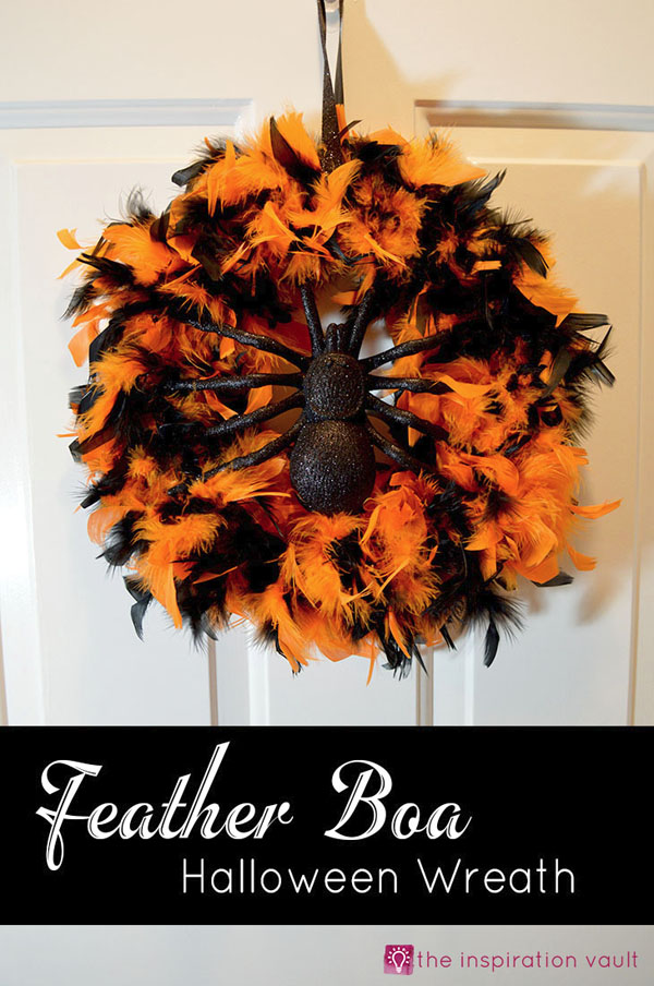 Feather Boa Halloween Wreath from the Inspiration Vault | Featured in 19 Easy Halloween Wreaths you can actually make {OneCreativeMommy.com}