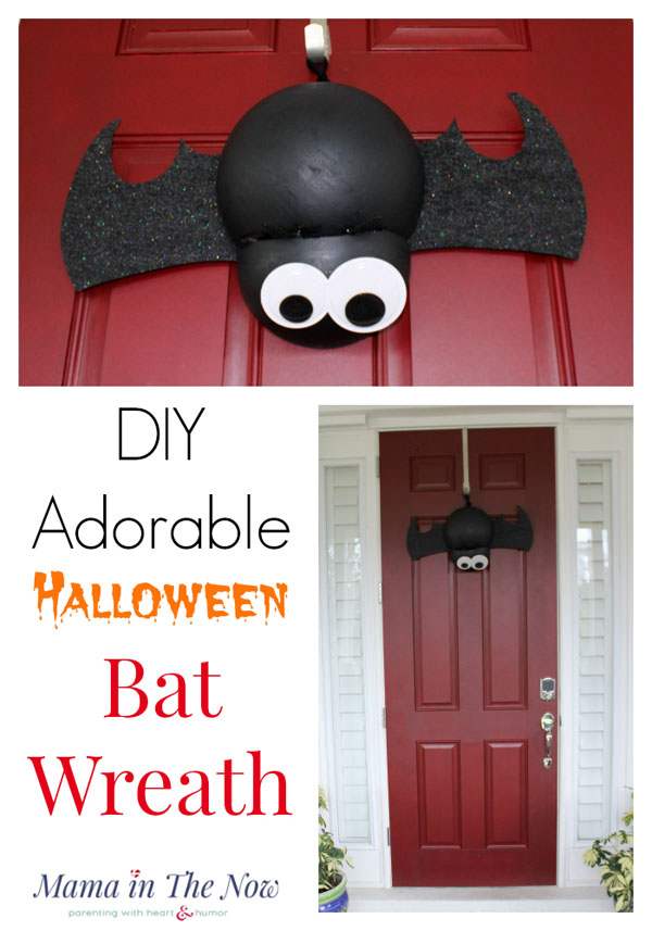 DIY Adorable Halloween Bat Wreath from Mama in the Now | Featured in 19 Easy Halloween Wreaths you can actually make {OneCreativeMommy.com}