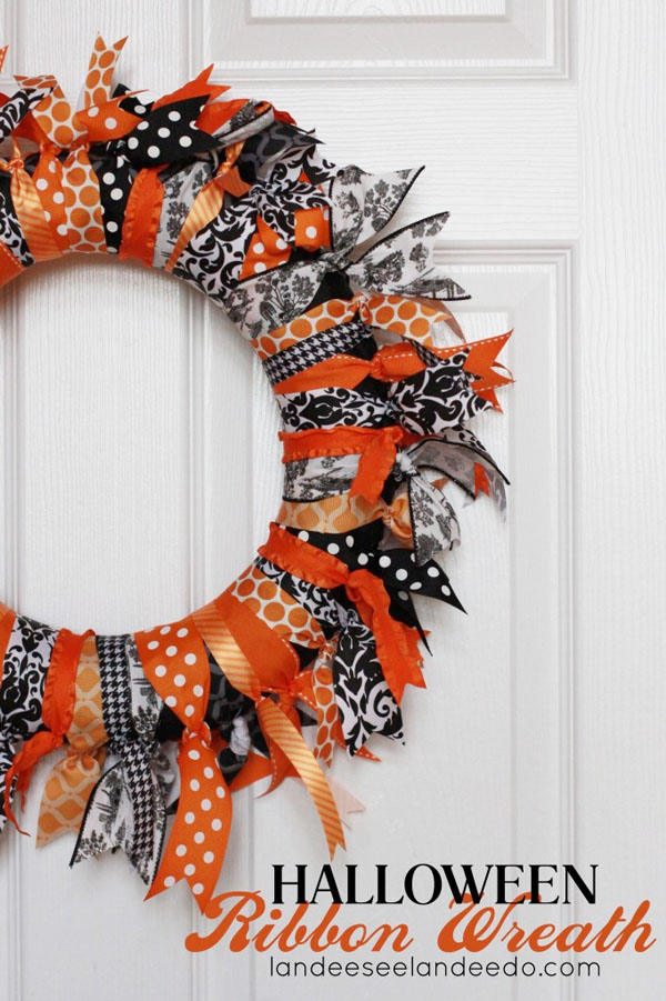 Halloween Ribbon Wreath from Landeelu | Featured in 19 Easy Halloween Wreaths you can actually make {OneCreativeMommy.com}