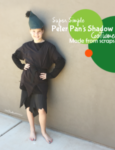 Make this simple Peter Pan Shadow Costume with fabric scraps and thrift store finds! So Easy! {OneCreativeMommy.com} Halloween Costume Ideas for Kids