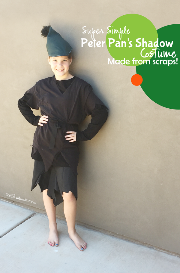Make this simple Peter Pan Shadow Costume with fabric scraps and thrift store finds! So  sc 1 st  OneCreativeMommy.com & Make This Simple Peter Pan Shadow Costume from Scraps ...