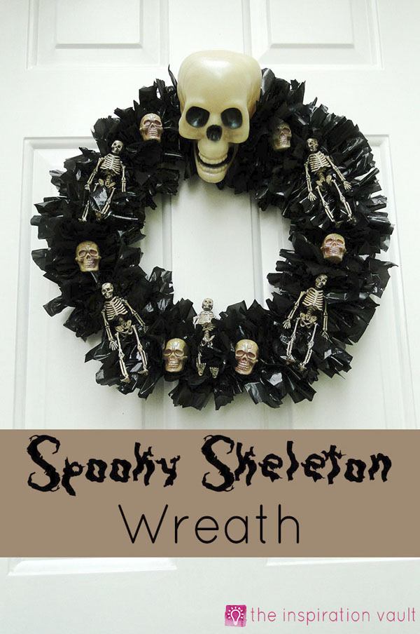Spooky Skeleton Wreath from the Inspiration Vault | Featured in 19 Easy Halloween Wreaths you can actually make {OneCreativeMommy.com}
