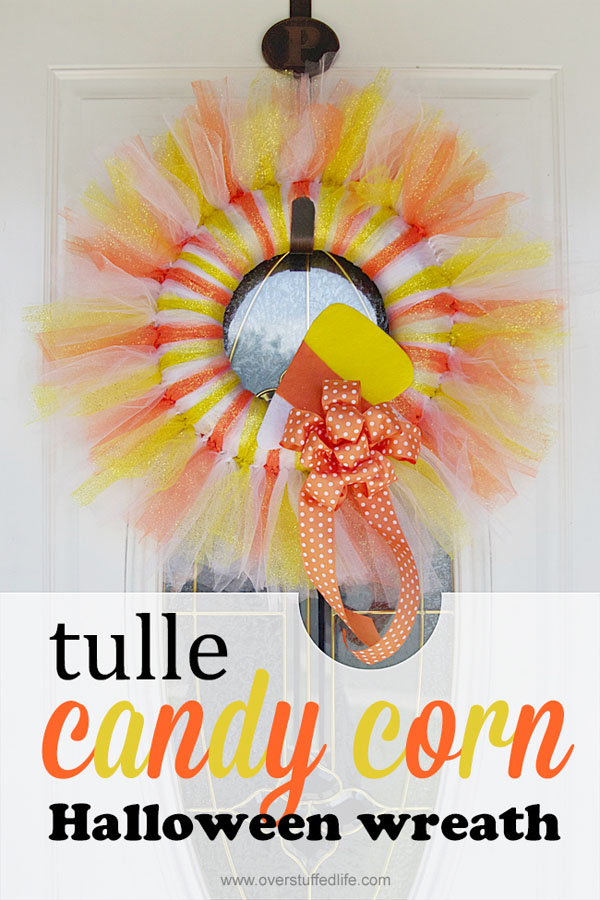 Tulle Candy Corn Wreath from Overstuffed | Featured in 19 Easy Halloween Wreaths you can actually make {OneCreativeMommy.com}