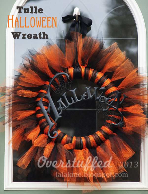 Tulle Halloween Wreath from Overstuffed | Featured in 19 Easy Halloween Wreaths you can actually make {OneCreativeMommy.com}