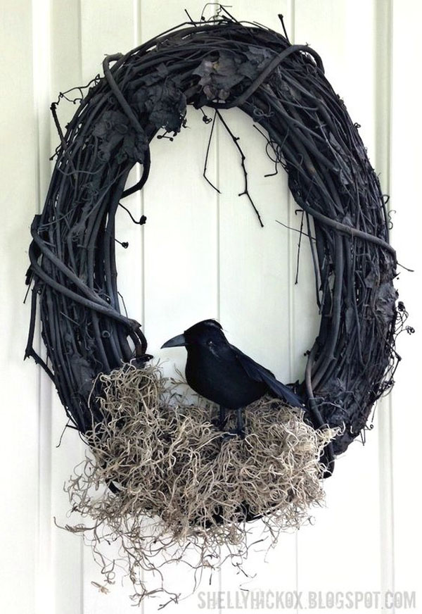 Knockoff Williams Sonoma Halloween Wreath from Stamp Tramp | Featured in 19 Easy Halloween Wreaths you can actually make {OneCreativeMommy.com}