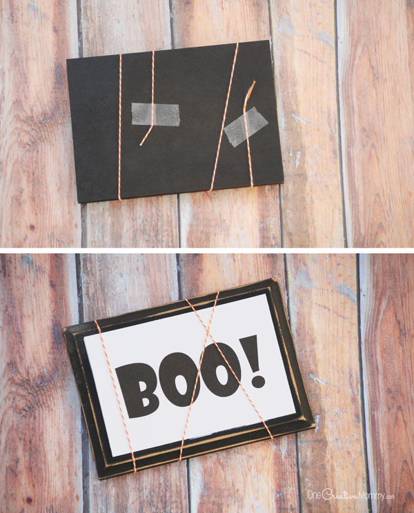 Temporarily transform an existing frame into Halloween decor with this simple tutorial {OneCreativeMommy.com} Free Halloween Boo Printable