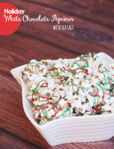 Holiday White Chocolate Popcorn with Sea Salt
