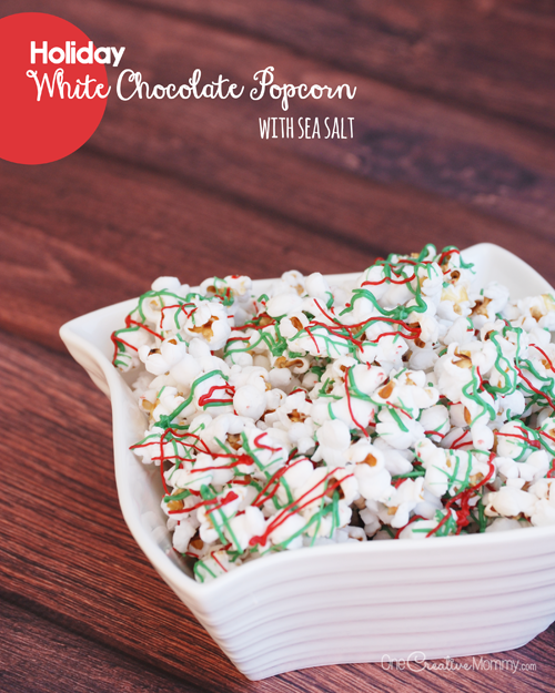 This delicious Holiday White Chocolate Popcorn with Sea Salt is a perfect snack or neighbor gift! {OneCreativeMommy.com} Christmas Recipe | Neighbor Gift Idea