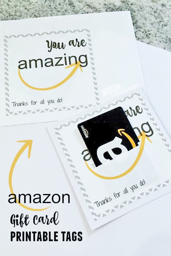 Amazon Gift Card Printable from Mission to Save | Featured in Best Christmas Gifts for Teachers Roundup {OneCreativeMommy.com}