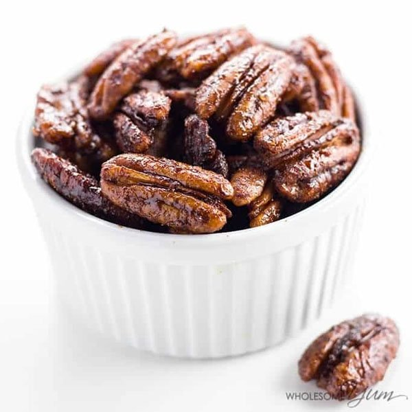 How to Make Sugar Free Candied Pecans from Wholesome Yum | Featured in Best Christmas Gifts for Teachers Roundup {OneCreativeMommy.com}