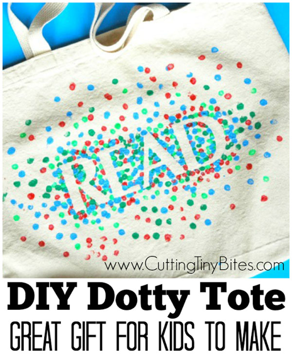 DIY Dotty Tote Bags from Paper and Glue | Featured in Best Christmas Gifts for Teachers Roundup {OneCreativeMommy.com}
