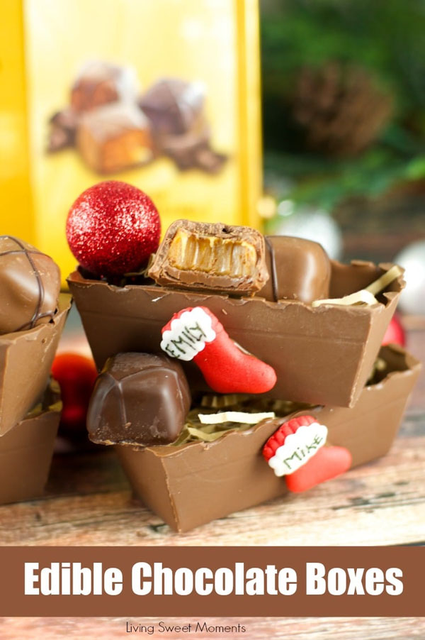 Edible Chocolate Boxes Tutorial from Living Sweet Moments | Featured in Best Christmas Gifts for Teachers Roundup {OneCreativeMommy.com}