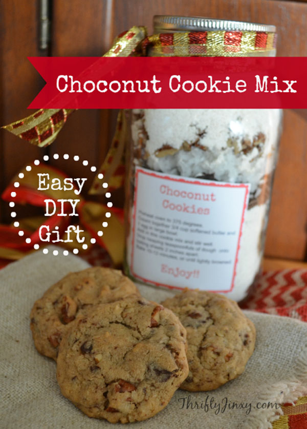 mason jar coconut cookie mix from thrifty jinxy featured in best christmas gifts for teachers
