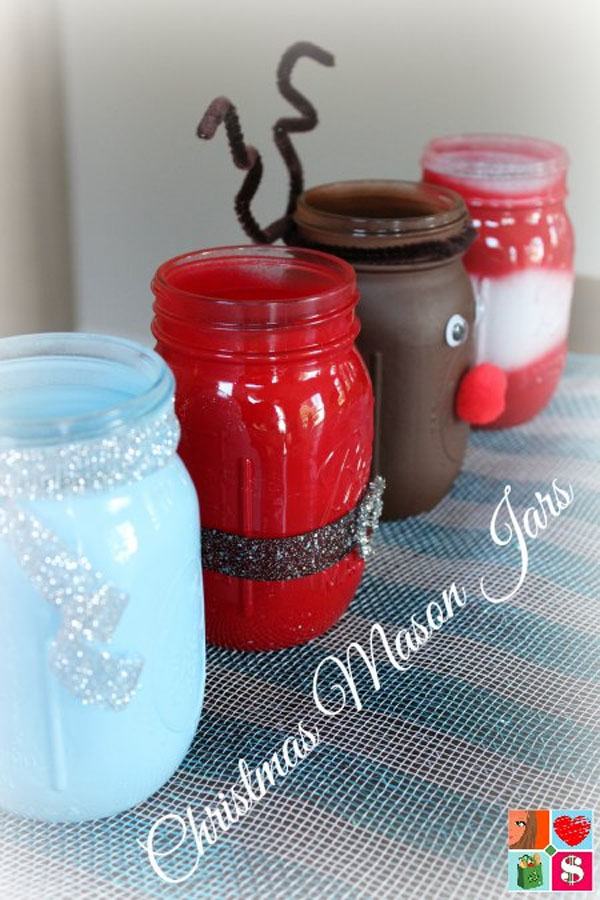 DIY Christmas Mason Jars from Having Fun Saving | Featured in Best Christmas Gifts for Teachers Roundup {OneCreativeMommy.com}