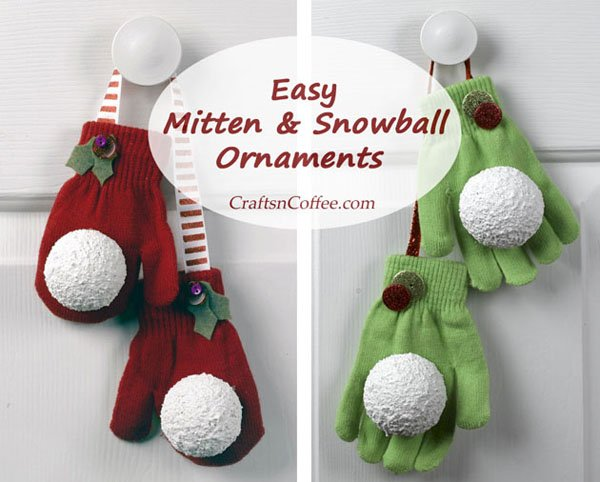 Mitten and Snowball Ornaments from Crafts 'n Coffee | Featured in Best Christmas Gifts for Teachers Roundup {OneCreativeMommy.com}
