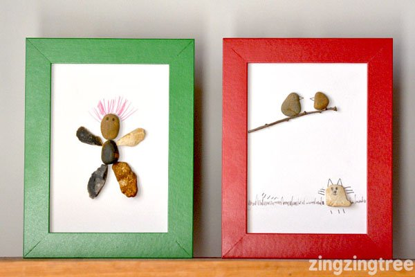 Pebble Art from Blue Bear Wood (Zing Zing Tree) | Featured in Best Christmas Gifts for Teachers Roundup {OneCreativeMommy.com}