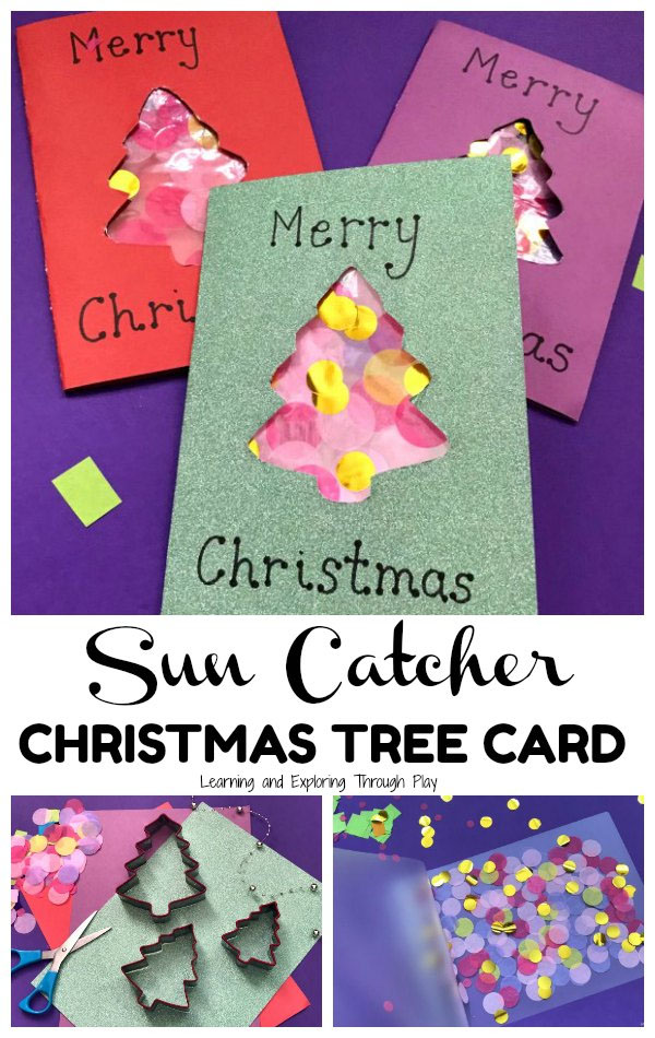 Christmas Tree Sun Catcher Card from Learning and Exploring through Play | Featured in Best Christmas Gifts for Teachers Roundup {OneCreativeMommy.com}