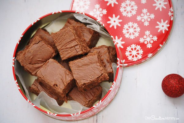 Million Dollar Double Chocolate Fudge Recipe -- This is seriously the most amazing fudge you will ever eat! {OneCreativeMommy.com} A perfect holiday gift for friends and neighbors. #fudge #fudgerecipe #glutenfree #doublechocolate #chocolatelovers