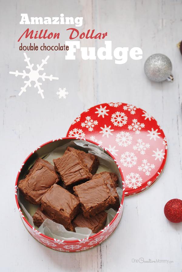 This amazing double chocolate fudge is the perfect neighbor gift this Christmas! {OneCreativeMommy.com} Fudge Recipe #fudge #fudgerecipe #glutenfree #doublechocolate #chocolatelovers