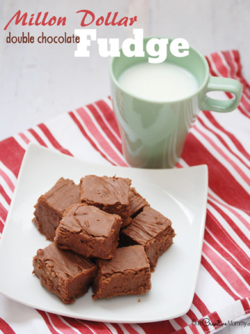 Million Dollar Double Chocolate Fudge Recipe -- This is seriously the most amazing fudge you will ever eat! {OneCreativeMommy.com} A perfect holiday gift for friends and neighbors.