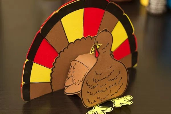3D Turkey Cutout from Real Life at Home | Featured in the Ultimate Turkey Crafts for Kids Roundup {OneCreativeMommy.com}