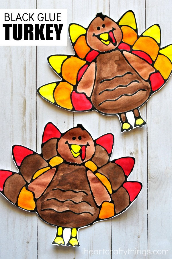 Black Glue Turkey Craft from I Heart Crafty Things | Featured in the Ultimate Turkey Crafts for Kids Roundup {OneCreativeMommy.com}