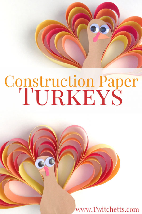 Construction Paper Turkeys from Twitchetts | Featured in the Ultimate Turkey Crafts for Kids Roundup {OneCreativeMommy.com}