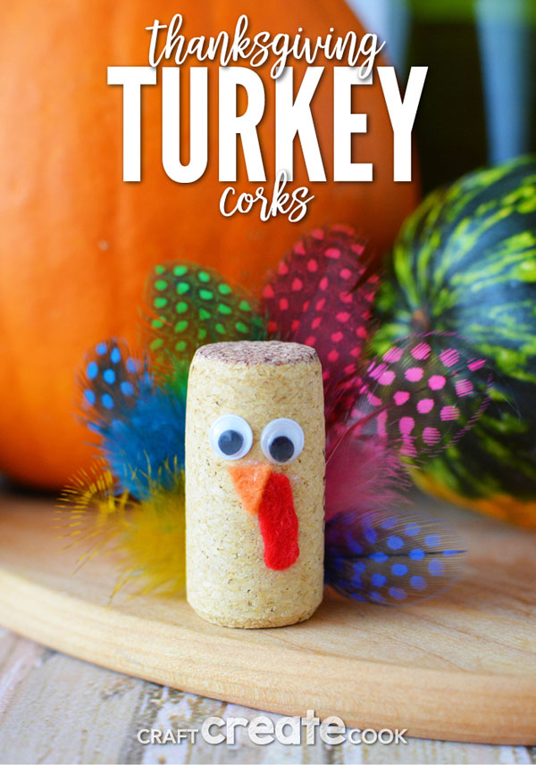 Thanksgiving Turkey Corks Craft from Craft Create Cook | Featured in the Ultimate Turkey Crafts for Kids Roundup {OneCreativeMommy.com}