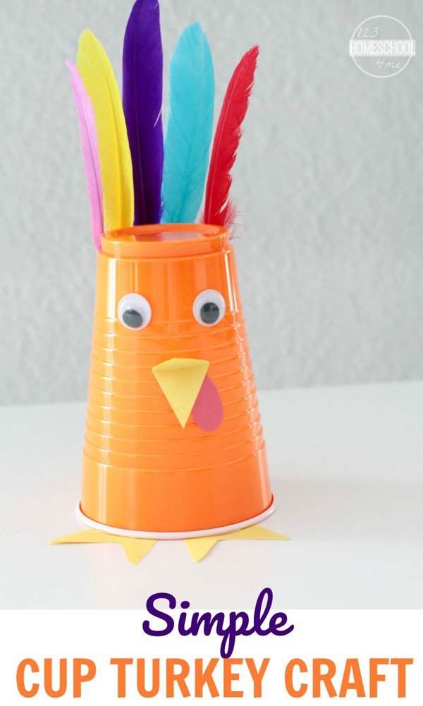 Simple Cup Turkey Craft from 123 Homeschool 4 Me | Featured in the Ultimate Turkey Crafts for Kids Roundup {OneCreativeMommy.com}