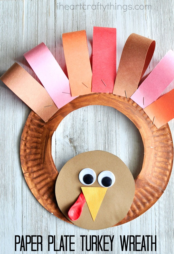 Paper Plate Turkey Craft from I Heart Crafty Things | Featured in the Ultimate Turkey Crafts for Kids Roundup {OneCreativeMommy.com}