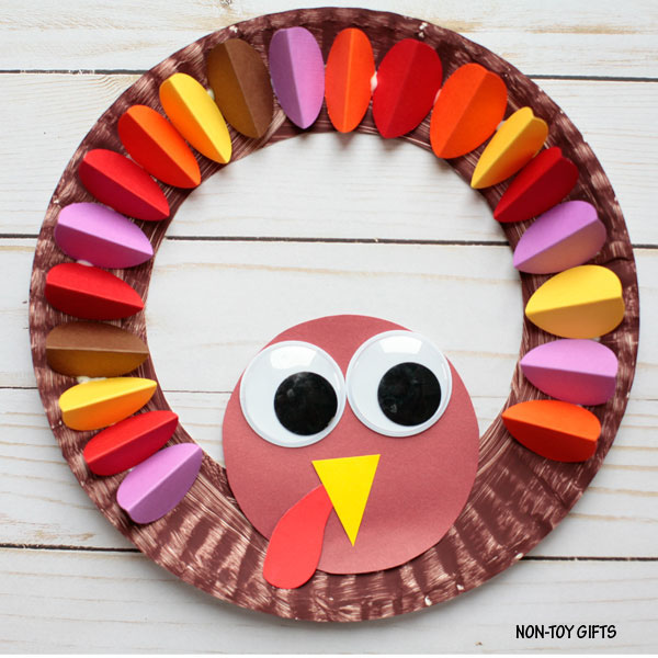 Paper Plate Turkey Wreath from Non Toy Gifts | Featured in the Ultimate Turkey Crafts for Kids Roundup {OneCreativeMommy.com}