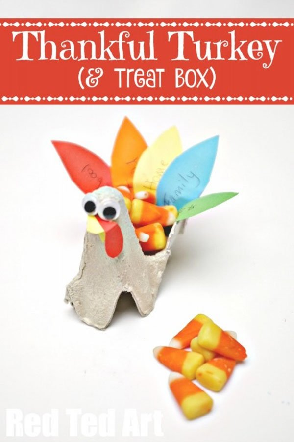 Egg Carton Turkey Craft and Treat Box from Red Ted Art | Featured in the Ultimate Turkey Crafts for Kids Roundup {OneCreativeMommy.com}