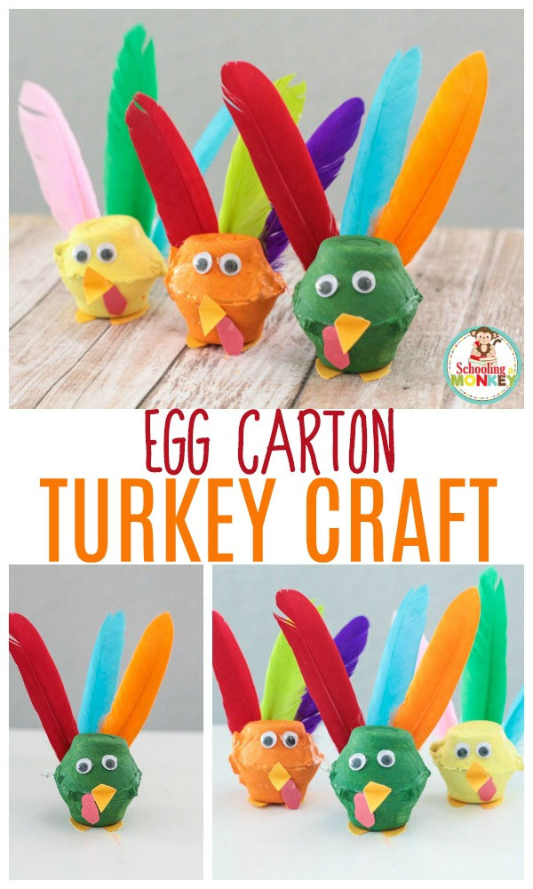 Egg Carton Turkey Craft from Schooling a Monkey | Featured in the Ultimate Turkey Crafts for Kids Roundup {OneCreativeMommy.com}