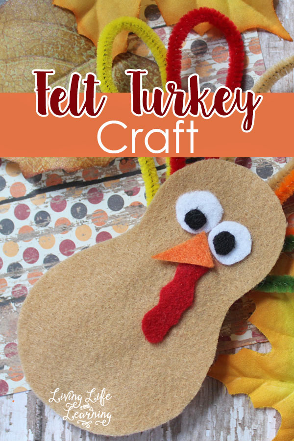 Felt Turkey Craft from Living Life and Learning | Featured in the Ultimate Turkey Crafts for Kids Roundup {OneCreativeMommy.com}