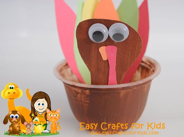 Fruit Cup Turkey from Easy Crafts for Kids | Featured in the Ultimate Turkey Crafts for Kids Roundup {OneCreativeMommy.com}