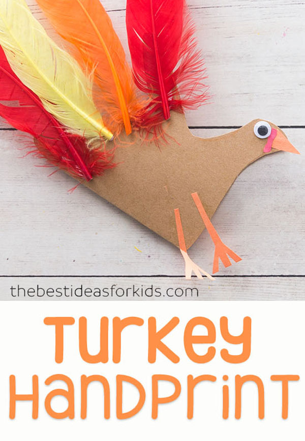 Turkey Handprint Craft with Poem from The Best Ideas for Kids | Featured in the Ultimate Turkey Crafts for Kids Roundup {OneCreativeMommy.com}