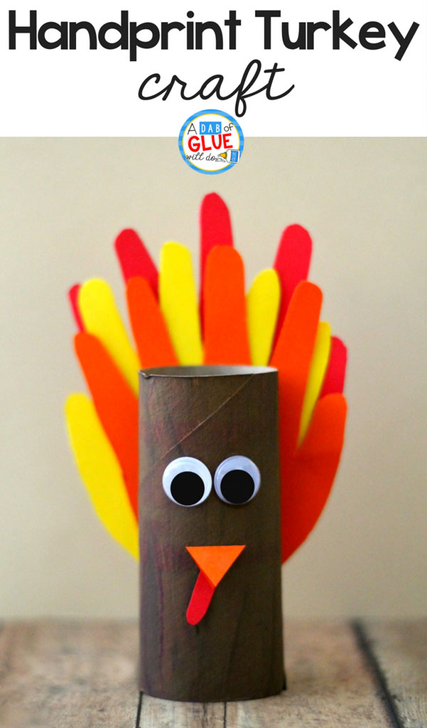 Handprint Turkey Craft from A Dab of Glue Will Do | Featured in the Ultimate Turkey Crafts for Kids Roundup {OneCreativeMommy.com}