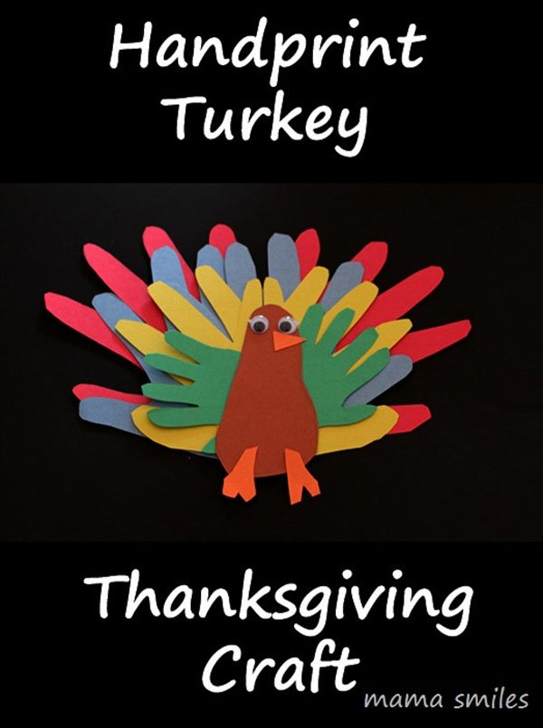Handprint Turkey Thanksgiving Craft from Mama Smiles | Featured in the Ultimate Turkey Crafts for Kids Roundup {OneCreativeMommy.com}