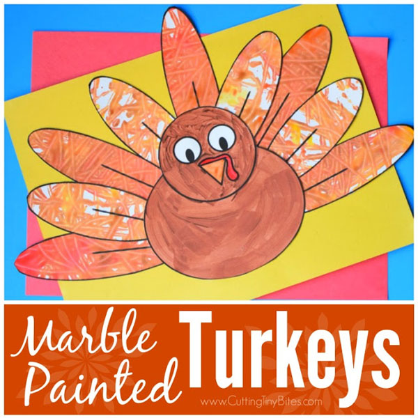 Marble Painted Turkeys from Paper and Glue | Featured in the Ultimate Turkey Crafts for Kids Roundup {OneCreativeMommy.com}