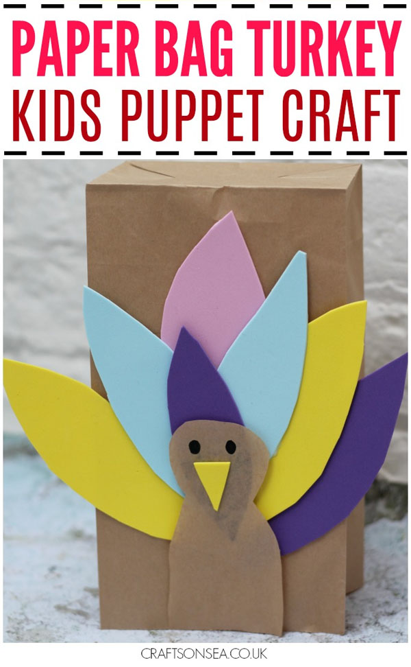 Paper Bag Turkey Puppets from Crafts On the Sea | Featured in the Ultimate Turkey Crafts for Kids Roundup {OneCreativeMommy.com}