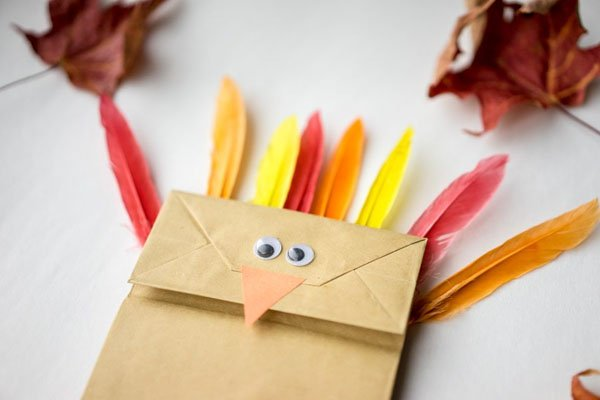 Paper Bag Turkey Craft from The Best Ideas for Kids | Featured in the Ultimate Turkey Crafts for Kids Roundup {OneCreativeMommy.com}