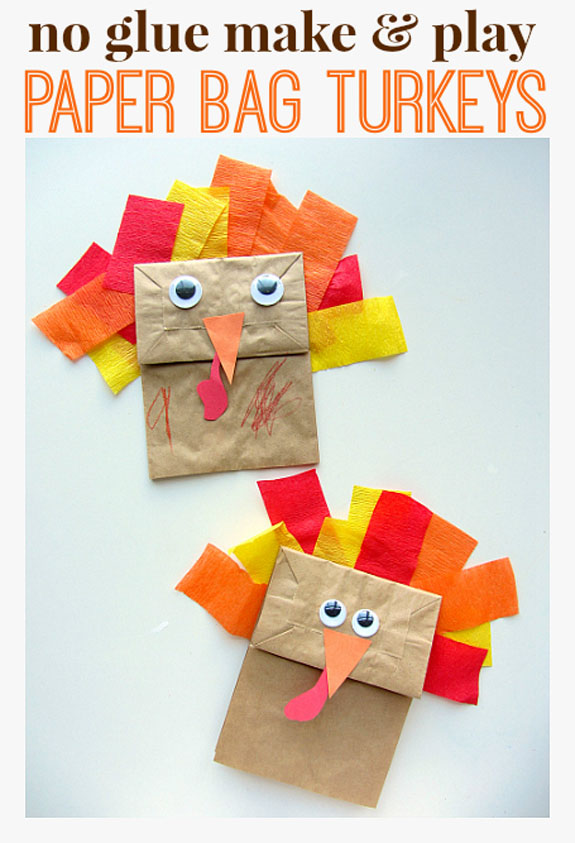 No Glue Make & Play Paper Bag Turkeys from No Time for Flashcards | Featured in the Ultimate Turkey Crafts for Kids Roundup {OneCreativeMommy.com}