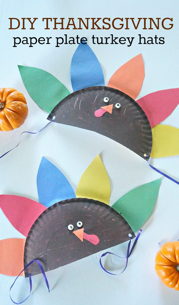 DIY Thanksgiving Paper Plate Turkey Hats from Honey and Lime | Featured in the Ultimate Turkey Crafts for Kids Roundup {OneCreativeMommy.com}