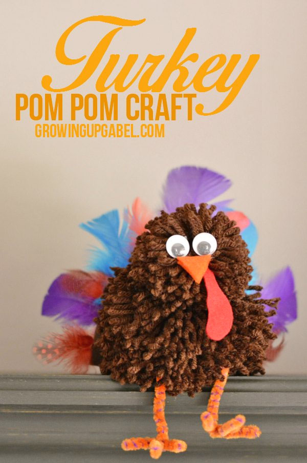 Pom Pom Turkey Craft from Growing Up Gabel | Featured in the Ultimate Turkey Crafts for Kids Roundup {OneCreativeMommy.com}